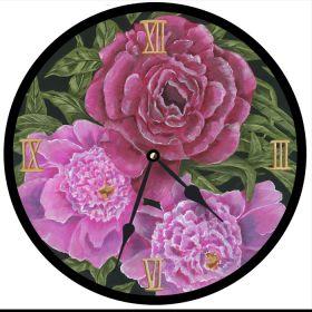 Peonies Round Clock