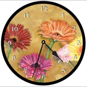 Gerber Daisy Round Clock