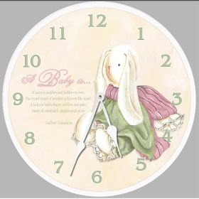 Baby Bunny Round Clock