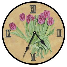 Tulips Pink Tan Round Clock