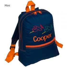 Children's Personalized Backpack in Navy & Orange