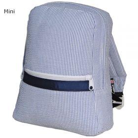 Children's Personalized Seersucker Backpack in Navy