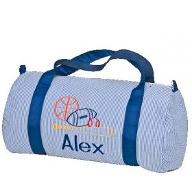 Children's Personalized Seersucker Duffle Bag in Navy