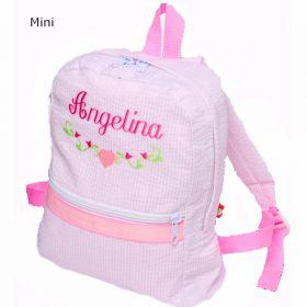 Children's Personalized Seersucker Backpack in Pink