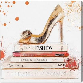 Coral Shoe and Books Canvas Wall Art