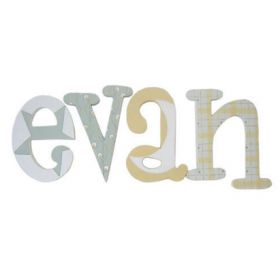 Evan Pale Green and Yellow Hand Painted Wooden Wall Letters