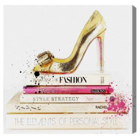 Gold Shoe and Fashion Books Canvas Wall Art