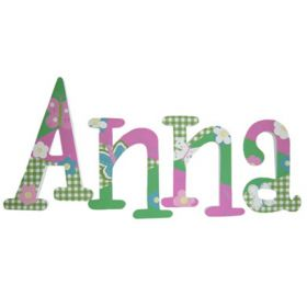 Anna Gingham Garden Hand Painted Wooden Wall Letters