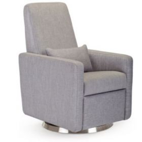 QUICK SHIP Grano Glider Recliner in Pebble Grey with Steel Swivel Base - Ships in 5 Days