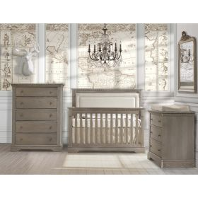 Ithaca 3 Piece Nursery Set 4 in 1 Convertible Crib, Double Dresser and 5 Drawer Dresser in Owl