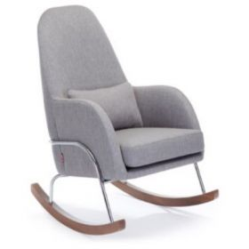 QUICK SHIP Jackson Rocker in Pebble Grey with Chrome Base and Walnut Feet - Ships in 5 Days