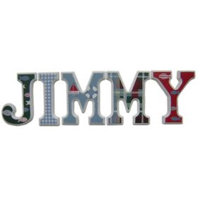 Jimmy Nautical and Plaid Hand Painted Wooden Wall Letters