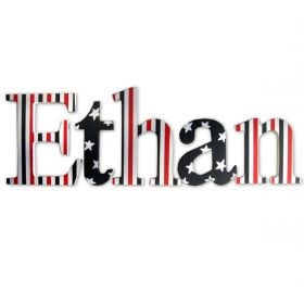 Ethan Simply Patriotic Hand Painted Wooden Wall Letters