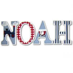 Noah Train and Caboose Hand Painted Wooden Wall Letters
