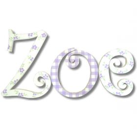 Zoe Purple and Flowers Hand Painted Wooden Wall Letters