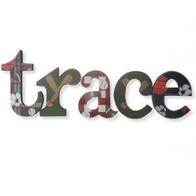 Trace Sports Pattern Hand Painted Wooden Wall Letters