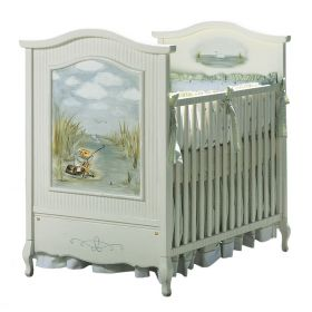 French Panel Crib in Antico White with Gone Fishin Motif