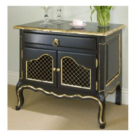 Country French Night Table in Black with Gold Gilding