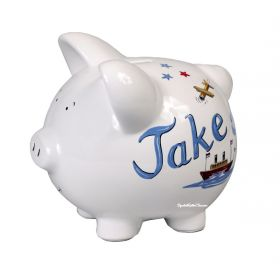 Transportation Handpainted Piggy Bank