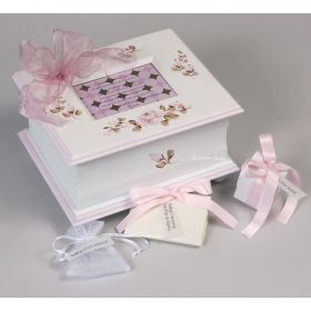 Memory Handpainted Keepsake Box with Pink Mocha Florals