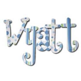 Wyatt All Boy Retro Hand Painted Wooden Wall Letters
