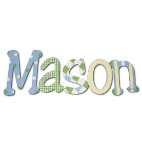 Mason Blue Green Hand Painted Wooden Wall Letters