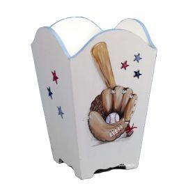 Baseball Handpainted Wooden Wastebasket