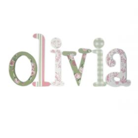 Olivia Flower and Toile Hand Painted Wooden Wall Letters