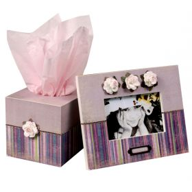 Lavender Fields Handpainted Tissue Box and Picture Frame