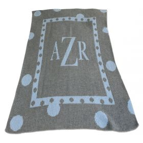 Large Polka Dot Blanket with Monogram
