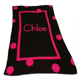 Large Polka Dot and Straight Inner Border Blanket with Monogram or Name