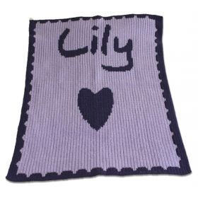 Single Heart and Scalloped Edge Stroller Blanket with Name