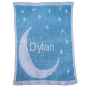 Moon & Stars Stroller Blanket with Name