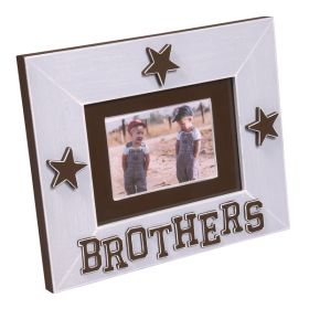 Light Blue Handpainted Brothers Wooden Picture Frame with Stars
