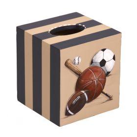 Sports Fan Handpainted Wooden Tissue Box