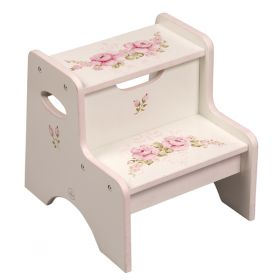 Floral Hand Painted White Wooden Two Step Step Stool