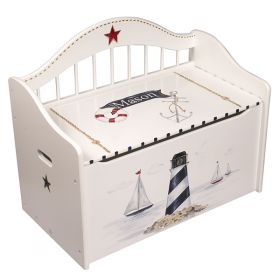 White Nautical Wooden Hand Painted Toy Chest