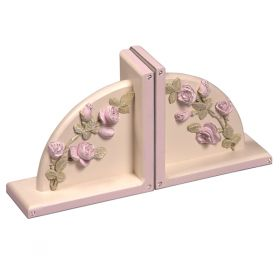 Floral Pink Rose Trimmed in Pink Handpainted Wooden Bookends with Bling