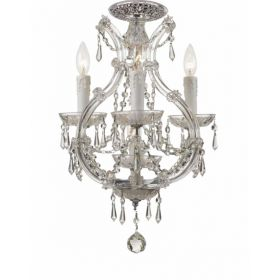 Polished Chrome Steel Mini Flush Chandelier with Swarovski Spectra Crystals