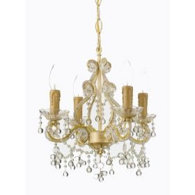 Champagne Wrought Iron Small Chandelier Clear Murano Crystals