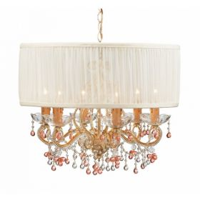 Champagne Wrought Iron Chandelier with Rosa Murano Crystals with Shade