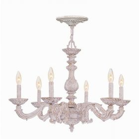 Antique White Wrought Iron Chandelier