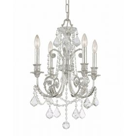 Olde Silver Wrought Iron Small Chandelier with Hand Polished Crystals