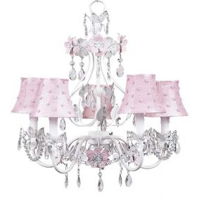 Five Arm Flower Garden Chandelier in White & Pink with Pink Pearl Dot Shades
