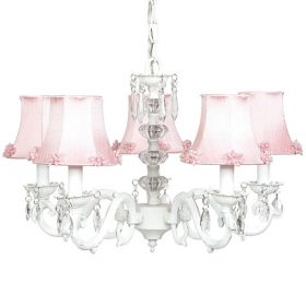 Five Arm Glass Turret Chandelier in White with Pink Pearl Burst Shades