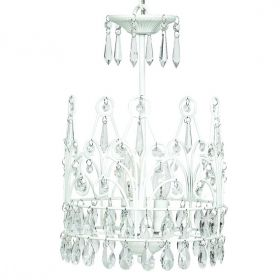3 Light Crown Chandelier in White