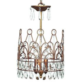 3 Light Crown Chandelier in Gold