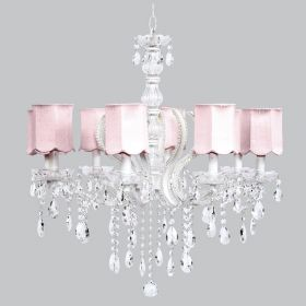 Eight Arm Pageant White Beaded Chandelier with Pink Scallop Shades