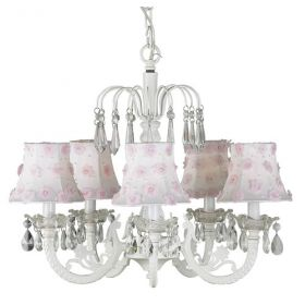 Five Arm White Waterfall Chandelier with Pink Flower Shades