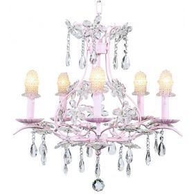 Five Arm Cinderella Chandelier in Pink with Clear Bulb Cover